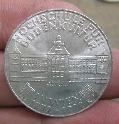 1972 Austria 100th Aniversary Institue of Agriculture 50 Schilling Silver Coin