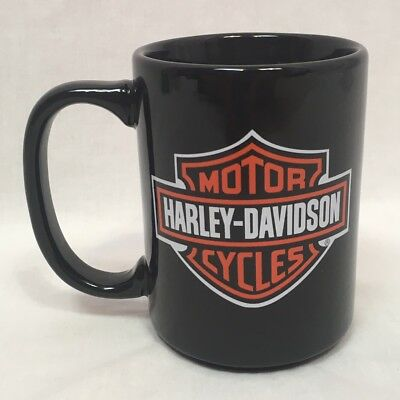 Harley-Davidson Classic Black Mug, Orange and White Logo