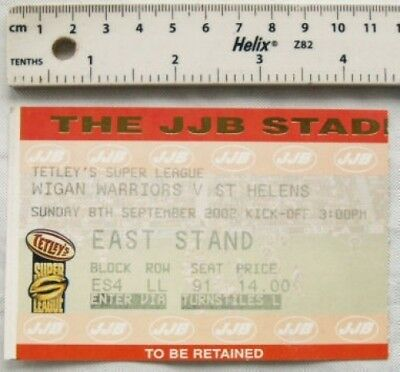 2002 ticket Wigan Warriors v. St. Helens