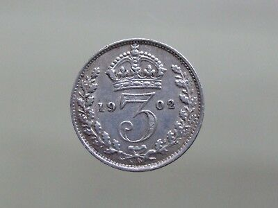 1902 Edward VII Sterling Silver Threepence, Lovely Coin - FREE POSTAGE (K28)