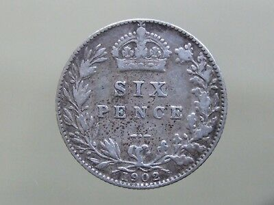 """1902 Edward VII """"Lucky"""" Sterling Silver Sixpence - FREE POSTAGE (K29)"""
