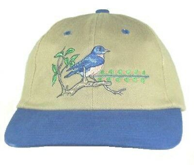 Bluebird  Embroidered Cotton Cap Hat Bird Ornithology