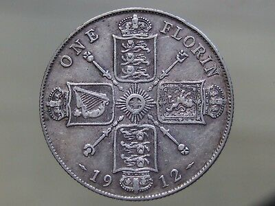 1912 Sterling Silver Florin - Scarce Date, Nice Coin - FREE POSTAGE (K31)