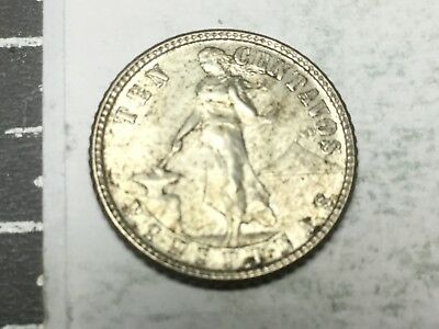 PHILIPPINES 1944-D 10 centavos small silver coin nice . condition