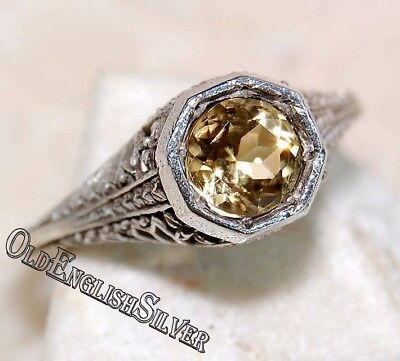 1CT Citrine 925 Solid  Sterling Silver Art Deco Filigree Ring Jewelry Sz 6