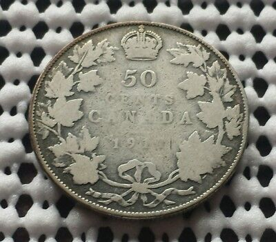 1911 ❀ King George V ❀ Silver 50 Cents Half Dollar Canada