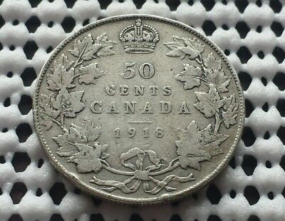 1918 ❀ King George V ❀ Silver 50 Cents Half Dollar Canada