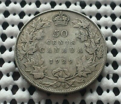 1929 ❀ King George V ❀ Silver 50 Cents Half Dollar Canada