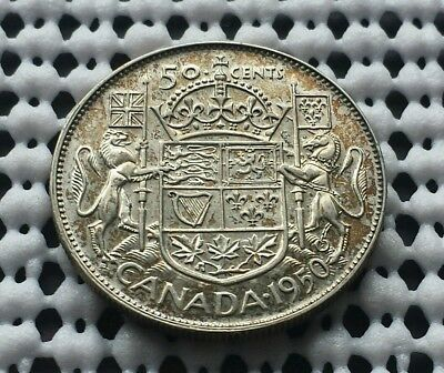 1950 ❀ King George VI ❀ Silver 50 Cents Half Dollar Canada