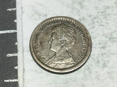 NETHERLANDS 1914 10 cent silver coin nice  condition