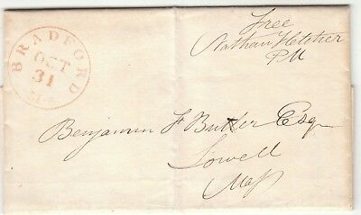1844 Stampless Letter To Benjamin F. Butler - Civil War General   Signed On Back