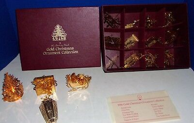 1986 Gold Christmas Ornament Collection Danbury Mint 12 in Box & 5 More