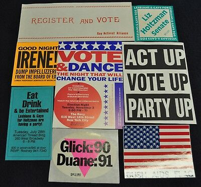 9 Vintage 1970s-90s Gay Voter Candidate Protest New York Fliers Stickers Glick