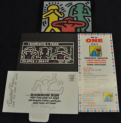 4 Vintage 1980s Keith Haring Gay Rights Political Cause Cards Fliers &1 Envelope