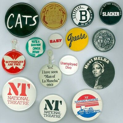 13 Vintage 1970s-80s Broadway Musical Ad Pinback Buttons &2 Tabs Grease CATS