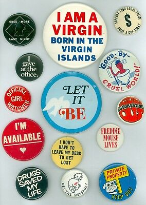 14 Vintage 1960s-70s Hippie Sayings Pinback Buttons - I Gave At The Office