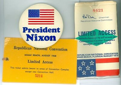 2 Vintage 1968-72 Political Campaign RNC Tickets &1 3 Inch Pinback Button #242