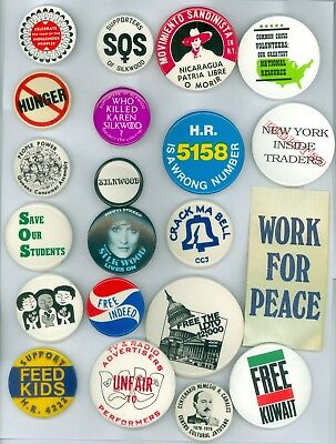 20 Vintage 1970s-80s Peace Protest Nukes Cause Pinback Buttons &1 Ribbon