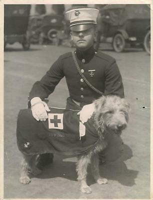 "1923 U.S. Marine with Mascot Dog ""Mike"" of USS IDAHO Original Press Photo"