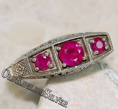 1CT Ruby 925 Solid Sterling Silver Edwardian Style Filigree Ring jewelry Sz 7