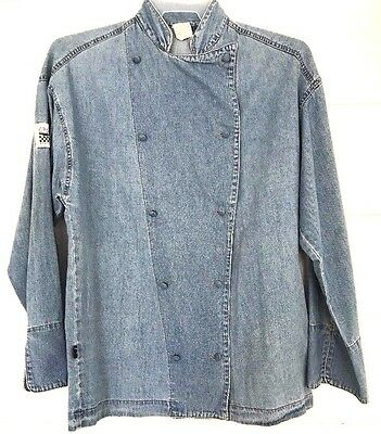 Chef Revival Denim Cook Jacket Shirt Size Small S SM Kitchen Blue Jean UNISEX