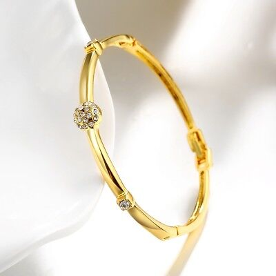 18k 18ct Elegant Yellow Gold Filled Solid Crystals Bangles Woman BN-A268