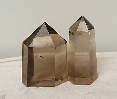 93g 2pcs TOP !!!NATURAL SMOKE QUARTZ CRYSTAL DT WAND POINT HEALING