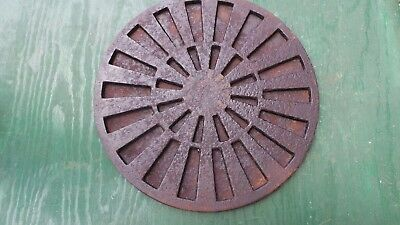 "VICTORIAN Cast Iron ROUND Grille 12"" Heat 2 Piece Grate Register STEAMPUNK"
