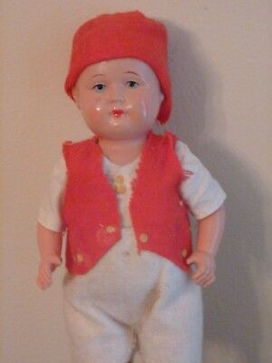 Vintage Antique Celluloid Peasant Boy Doll Clothing Marked Japan