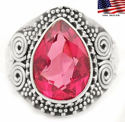 5CT Leaf- Rubellite Tourmaline 925 Solid Sterling Silver Ring Jewelry Sz 8.75