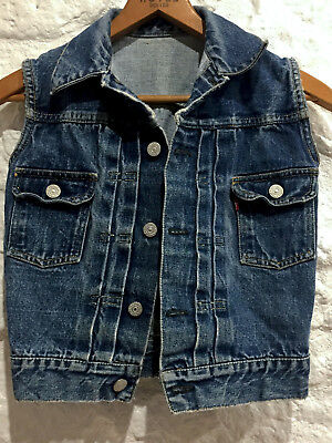 """Vintage 1950's BIG E 2nd Edition LEVI""""S pleated selvage denim VEST Youth size"""