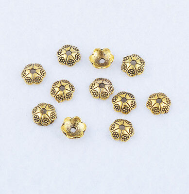 50pcs Brass Small Bead Caps Retro Carved Flower End Bead Jewelry Findings 6x2mm