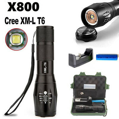 10000LM Zoom XML T6 LED Tactical Flashlight Torch 18650 Battery Charger Case G1