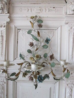 WONDERFUL Old Vintage WALL SCONCE Candle Holder Italian TOLE FLOWERS Patina!