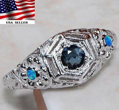 1CT Blue Sapphire & Opal 925 Solid Sterling Silver Art Deco Ring jewelry Sz 6