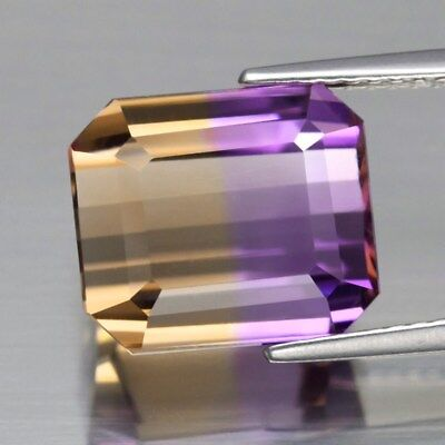 Clean! IF 7.40ct Octagon Natural Untreated Yellow & Purple Ametrine, Even Split
