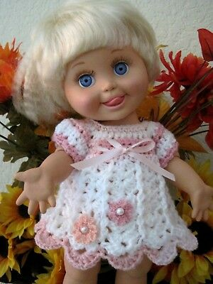"Sweet DRESS for 13"" Galoob Baby Face - Hand Crocheted"
