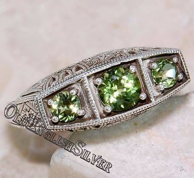 1CT Peridot 925 Solid Sterling Silver Art Deco Filigree Ring Jewelry Sz 8