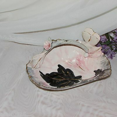 Pink Porcelain Basket Candy Dish Italy Hand Painted Butterfly Handle Black Gold