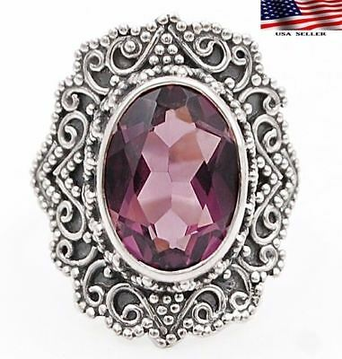 6CT Amethyst  925 Solid Sterling Silver Detailed Design Ring Jewelry Sz 6.75