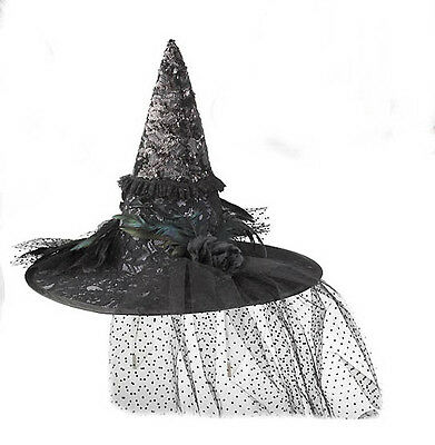 BLACK WITCH HAT Netting Sparkle Fabric Accents Halloween Costume  Accessory NEW