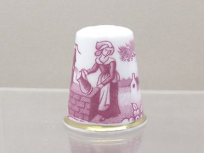SPODE Thimble Collectors Lady At The Well Fine Bone China Made England Gold Gilt