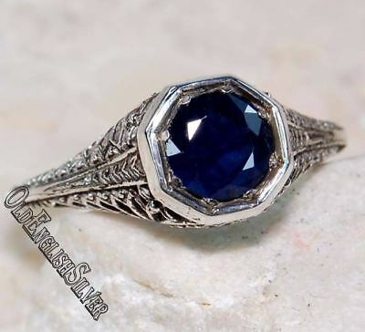 1CT Blue Sapphire 925 Solid Genuine Sterling Silver Art Deco Ring Jewelry Sz 7