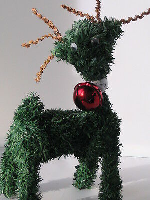 Vintage Christmas Cute Green Tinsel Fur Reindeer With Red Metal Bell Circa 80's