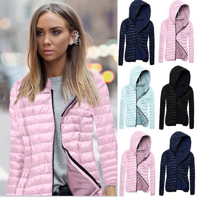 Women's Hooded Puffer Coat Zipper Parka Quilted Padded Down Jacket Outwear New