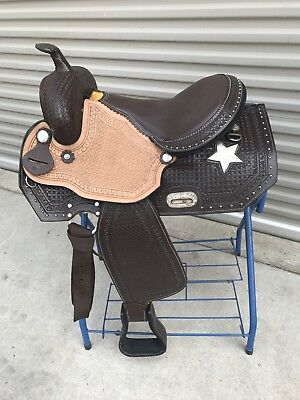 """16"""" New Leather Brown Western Start Please Trail Saddle  FQB!! MUST SEE!!"""
