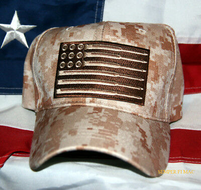 Tactical Flag Bullets Rounds Desert Camo Hat Cap Us Army Marines Navy Air Force