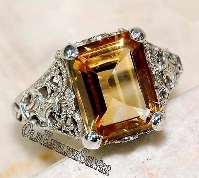 4CT Citrine 925 Solid Sterling Silver Edwardian Style Filigree Ring Jewelry Sz 8