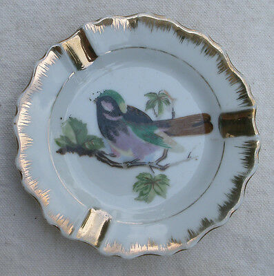 Vintage Song Bird Ashtrays,1960s,Napco China,gold leaf,Japan,set of 2 blue jay