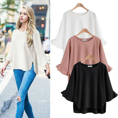 Women Loose 3/4 Flared Sleeve Blouse Top Summer Casual T-shirt Chiffon Plus Size